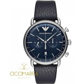 Emporio Armani watch, man, chronograph, blue leather