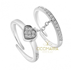 Double ring Salvini Be Happy Fashion heart and ring veretta