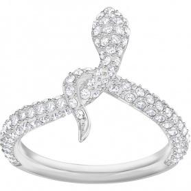 Swarovski anello Leslie serpente bianco con pavè argentato - 5365525