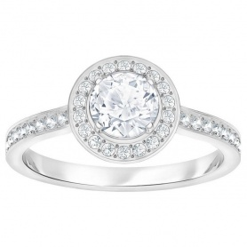Swarovski solitaire ring, Attract Light Round, silver plated - 5368545