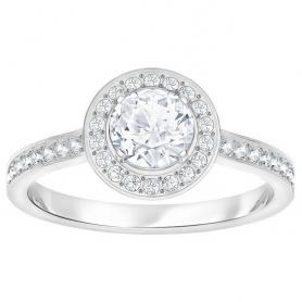 Swarovski anello solitario con pietre sul gambo Attract Light Round