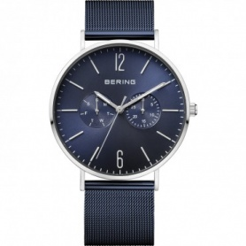 Bering watch, man, steel, Milanese knit strap, blue - 14240-307