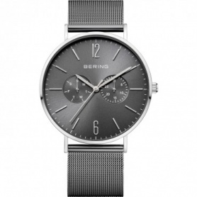 Bering watch, man, steel, Milanese knit strap, burnished - 14240-309