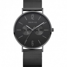 Bering watch, man, steel, Milanese knit strap, black - 14240-222