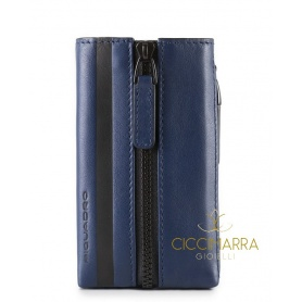 Piquadro leather keyring Setebos blue - PC4302S96/BLU