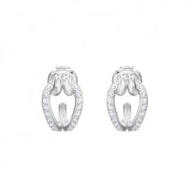 Swarovski orecchini a cerchio Lifelong piccoli pavè a griffe - 5390814