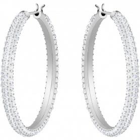 Swarovski Stein Creolen, weiße Silberkristalle - 5389432