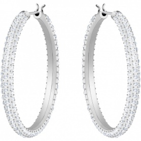 Swarovski Stone hoop earrings, white silver crystals - 5389432