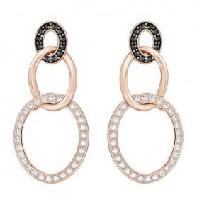 Swarovski Greeting Ring Ohrringe, hängende Kreise, schwarzer Kristall rosè