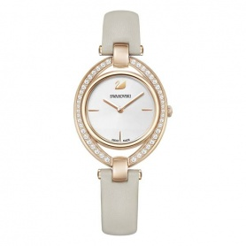 Stella watch, dove gray leather strap, rosè, quartz - 5376830
