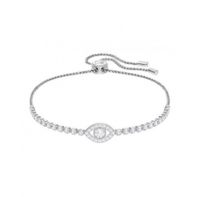 Swarovski tennis bracelet, Subtle Evil Eye, silvered white eye