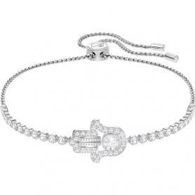 Swarovski tennis bracelet, Subtle Hamsa Hand, white silvered hand