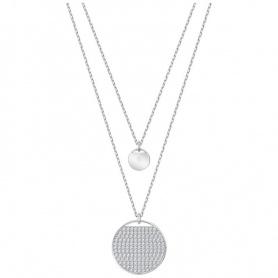 Swarovski doppia collana Ginger, bianca pendente circolare - 5389047