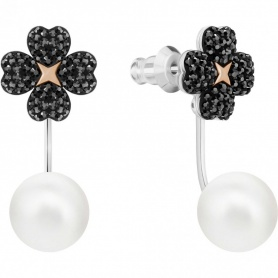 Swarovski earrings Jackets Latisha, black cloverleaf - 5389161
