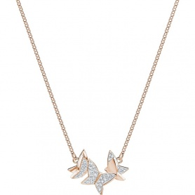Swarovski necklace Lilia butterflies plated rose gold - 5382366