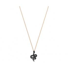 Swarovski Leslie Halskette, Schlangenanhänger schwarz rosé - 5384396