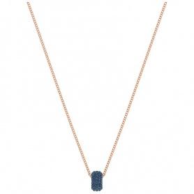 Swarovski Collana Stone Round, con pendente centrale tondo azzurro