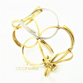 Bracciale Vendorafa  semirigido a cerchi in oro e brillanti