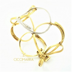 Semi-rigid Vendorafa bracelet in circles, in gold and diamonds