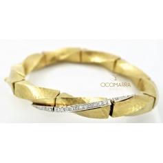 Vendorafa semi-rigid torchon bracelet in gold and diamonds
