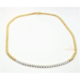 Vendorafa Collier, Halskette zu Kugeln in Gelb- und Weißgold mit Diamanten