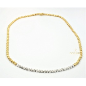 Vendorafa collier, necklace to spheres in yellow and white gold with diamonds