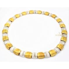 Vendorafa collier, shields, in yellow and white gold