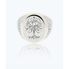Anello Albero della Vita bianco small in argento - 1A-ADV-B