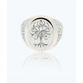 Tree of Life Ring small white in silver - 1A-ADV-B