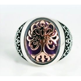 Tree of Life Ring, medium with rose gold and amethyst