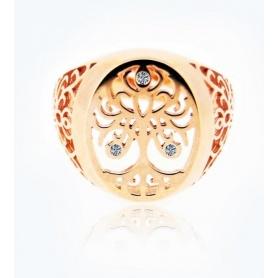 Ring, Baum des Lebens, mittelgroßes Roségold mit Diamanten