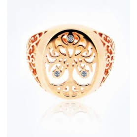 Ring, Tree of Life, medium rose gold with diamonds