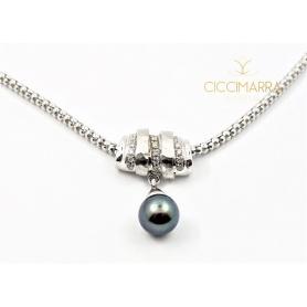 Collana Vendorafa in oro bianco con perla nera Tahiti