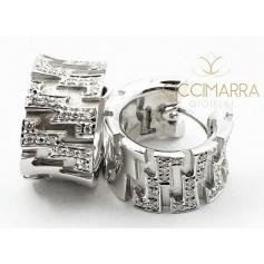 Vendorafa earrings, circle band, in gold with diamonds