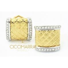 Vendorafa band earrings, in yellow and white gold with diamonds