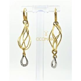 Vendorafa earrings, wire braided  in gold and diamonds