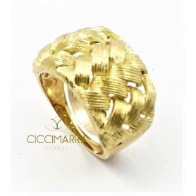 Vendorafa ring, band, with intertwining in satin gold.