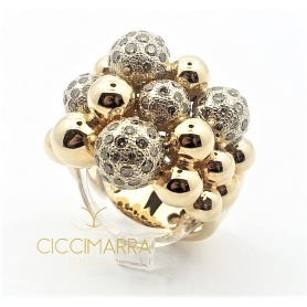 Vendorafa Ring, Kugeln in Roségold und braunen Diamanten