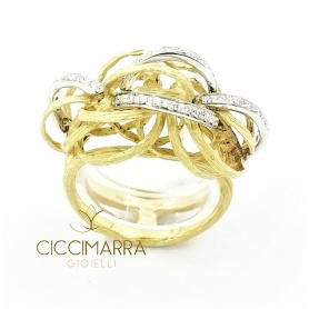 Vendorafa ring, braided wire in gold and diamonds