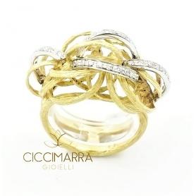 Vendorafa Ring, geflochtener Draht in Gold und Diamanten