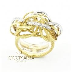 Vendorafa ring, braided wire in gold and diamonds