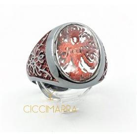 Anello Albero della Vita rosso medio con cristallo di rocca
