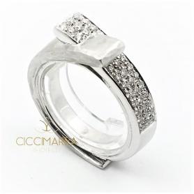 Vendorafa Doppelring in Weißgold und Diamanten