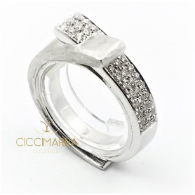 Vendorafa double band ring in white gold and diamonds