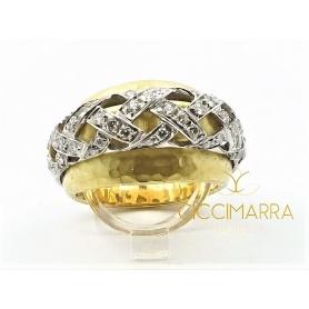 Vendorafa Band Ring mit Verflechtung in Gold und Diamanten