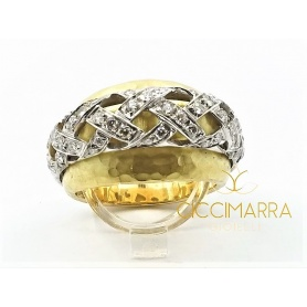 Vendorafa band ring with intertwining in gold and diamonds