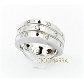 Vendorafa band ring in shiny white gold with diamonds