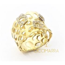 Vendorafa Ring aus satiniertem Gold und braunen Diamanten