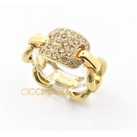 Vendorafa articulated ring gold with brown diamonds