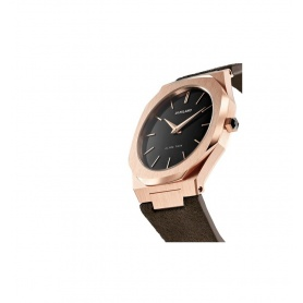 Milan D1 watch, Ultra Thin line, octagonal rosè suede leather